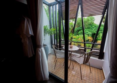 view from room of the Butterfly Pea Captivate Deluxe Double Hotel room personal balcony overlooking Siem Reap River