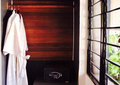 Butterfly Pea hotel room closet space with two hanging bathrobes, a room safe, wooden paneling, and a view of the window