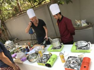 tasting Khmer food during the Butterfly Pea Villa cooking class